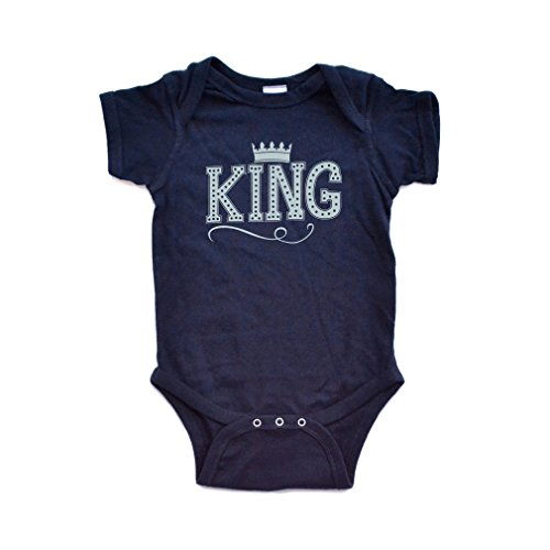 Apericots Cute King Baby Boy Bodysuit With Crown On Super Soft Cotton