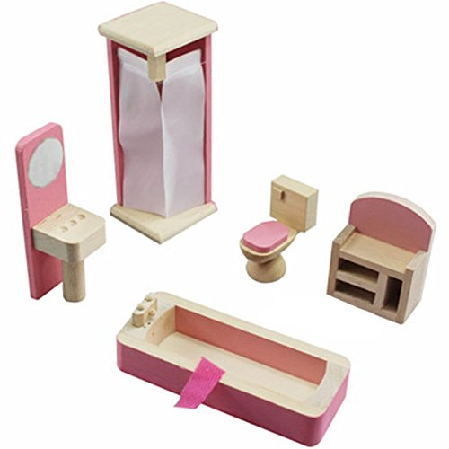 Glamorway Baby Kids Play Pretend Toy Design Wooden Doll Furniture Dollhouse Miniature Toy Children Gifts for Bathroom