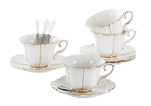 Jusalpha Porcelain Tea Cup and Saucer Coffee Cup Set with Saucer and Spoon FD-TCS08 (Set of 4)