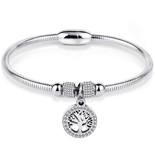 Jude Jewelers Stainless Steel Magnetic Tree Life Charm Bangle Bracelet Cocktail Party (Silver) (Steel Life Stainless)
