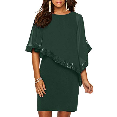 Alaster Queen Sequined Overlay Party Dress Chiffon Poncho Slit Sleeve Pencil Cocktail Mini Dress (Green,Small)