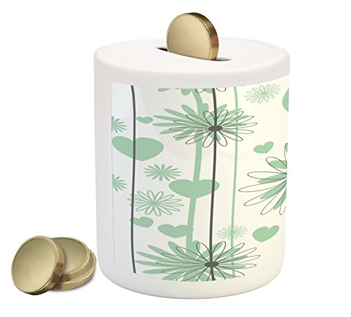 - Lunarable Hearts Piggy Bank, Floral Abstract Striped Background Soft Color Daisies Nature Flourish, Printed Ceramic Coin Bank Money Box for Cash Saving, Mint Green Charcoal Grey