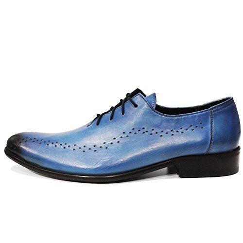 Modello Lungo - Cuero Italiano Hecho A Mano Hombre Piel Azul Zapatos Vestir Oxfords - Cuero Cuero pintado a mano - Encaje