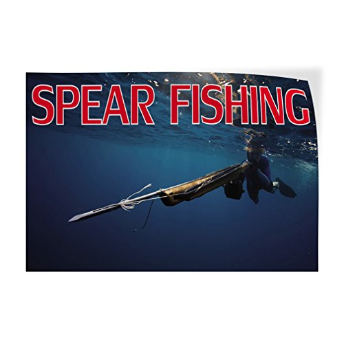 Spear Fishing Indoor Store Sign Vinyl Decal Sticker - 9.25inx24in, by Sign Destination