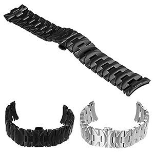 StrapsCo Heavy Duty Stainless Steel Watch Band Bracelet Strap with Hidden Clasp