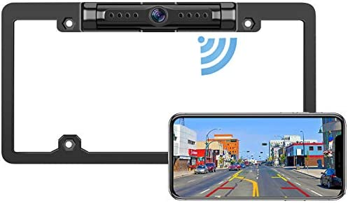 DoHonest WiFi Digital Wireless Backup Camera for iPhone/Android, IP69 Waterproof License Plate Frame Camera for Cars,Trucks,Vans Pickups,SUVs Guide Lines On/Off - V18