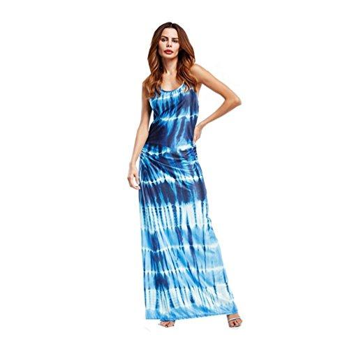 Blue Corduroy Dress - Beautyfine Women Chic Bohemian Tie-Dye Illusion Print Racerback Long Tank Dress