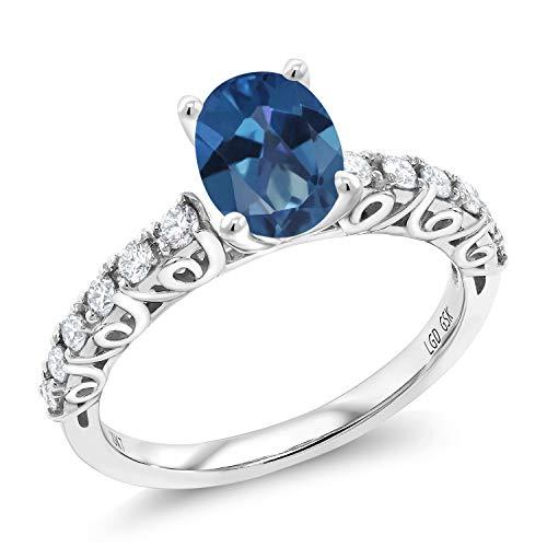(1.60 Ct Oval Blue Mystic Topaz G/H Lab Grown Diamond 10K White Gold Ring (Size 7))