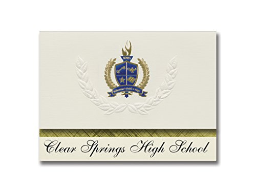 Signature Announcements Clear Springs High School (League City, TX) Graduation Announcements, Presidential style, Elite package of 25 with Gold & Blue Metallic Foil seal]()