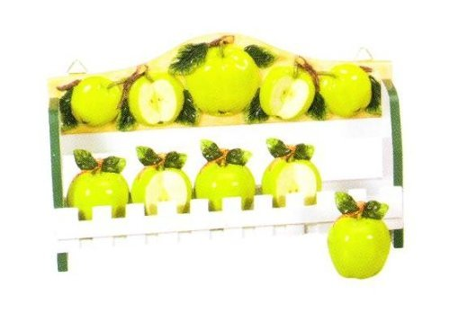 GREEN APPLE 3-D Wood Spice Rack & 5 Jars Set *NEW!*