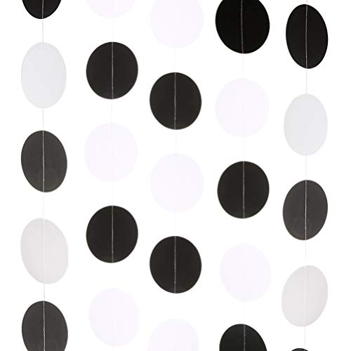 MOWO Black White Circle Dots Paper Garland Party Hanging Decorations, 2.5