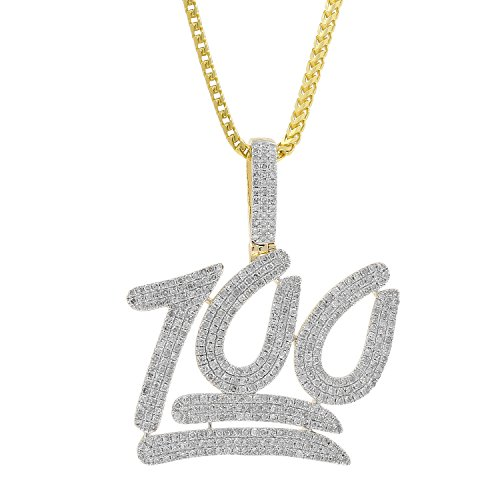 2.50ct Diamond 100 Point Emoji Mens Hip Hop Pendant Necklace in 10kt Yellow Gold (H-I, I1-I2) by Isha Luxe-Hip Hop Bling