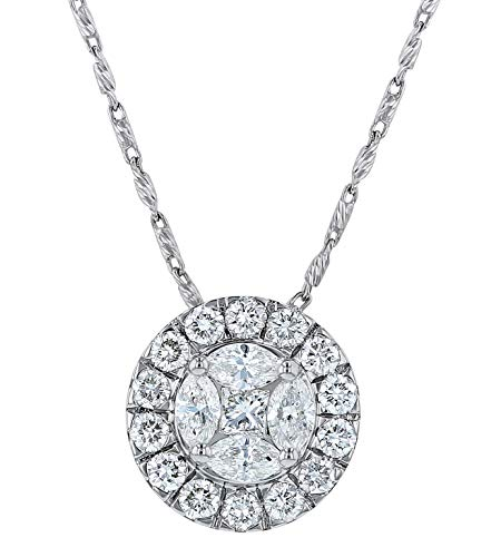 Olivia Paris Certified 14k White Gold Diamond Halo Pendant Necklace (1.00 cttw, G-H, SI1-SI2) 18