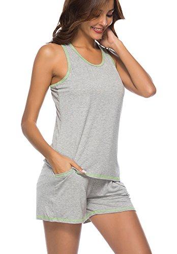dd3cc57c13 Etosell Women Pajama Set Tank Top with Short Pants 2 Piece Pjs Set for  Womens Teens