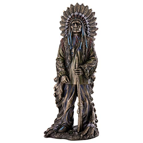 (Top Collection Native American Statue with Gorgeous Headdress- Hand Painted Chief Sitting Bull Sculpture in Premium Cold Cast Bronze - 11-Inch Collectible Indigenous Indian)