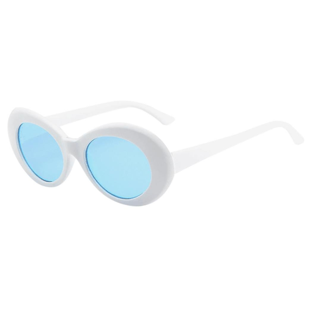 Forthery Goggles Oval Mod Retro Thick Frame Eyewear Sunglasses Round Lens (B)