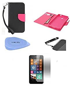 Ooki® 4 in 1 Combo for Nokia Lumia 635, Nokia Lumia 630- Fashion Wallet Pouch Pu Leather Flip Case Cover with Credit Card and Cash Slot + Screen Protector + Stylus Pen + Case Opener (Black and Hot Pink)