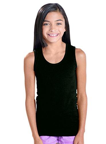 LAT Apparel Girls 100% Cotton Fine Jersey Tank [Medium] Black Sleeveless Tank Top (Black Tank Tops Kids)