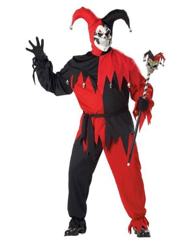 California Costumes Black/Red Evil Jester Plus Size Costume Plus (Skeleton Jester)