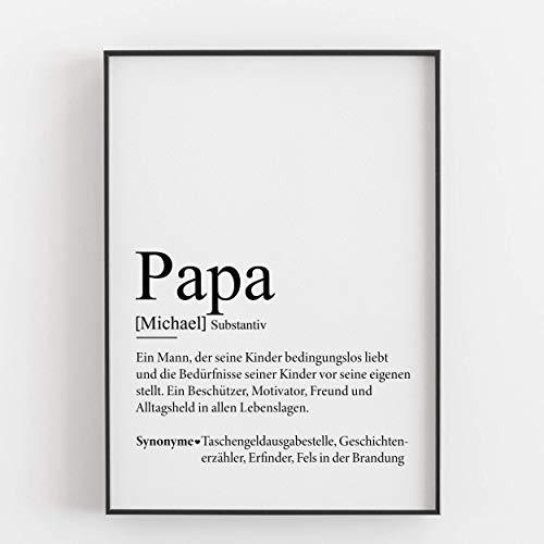 Papa Geschenkidee Vatertagsgeschenk Personalisiert Geburtstagsgeschenk Weihnachtsgeschenk Vater Defintion Geschenk Persönlich Kunstdruck Bild