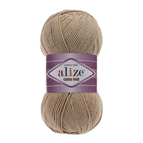 55% Cotton 45% Acrylic Yarn Alize Cotton Gold Thread Crochet Hand Knitting Art Lot of 4skn 400 gr 1444 yds Color 262 Beige