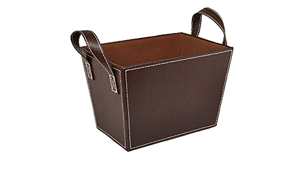 Amazon Com The Lucky Clover Trading Roosevelt Faux Leather Bin With Handles Basket Brown Home Kitchen
