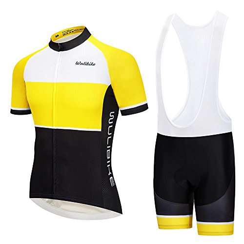 Lo.gas Mens Yellow Cycling Jersey Kit Pro Road Biking Jersey Short Sleeve and Padded Bib Set Breathable Quick Dry - Zero Short Sleeve Base