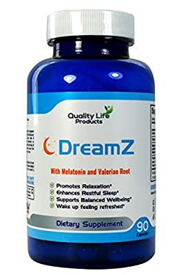 DreamZ Natural Herbal Sleep Aid Supplement. Non-Habit Forming. Promotes Deep Sleep. Helps with Insomina, Tinnitus and Sleep Disorders. Melatonin, Valerian, Chamomile - 90 Day Supply