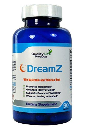 DreamZ naturel à base d'herbes aide supplément. Non-accoutumance. Favorise un sommeil profond. Aide avec Insomina, acouphènes et troubles du sommeil. Mélatonine, valériane, camomille - approvisionnement de 90 jours