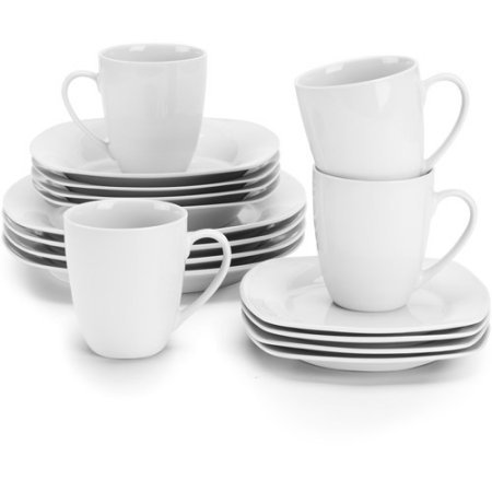(10 Strawberry Street Simply White Square 16-Piece Dinnerware Set)