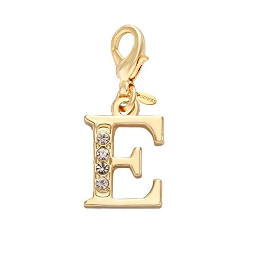 Letter English Alphabet - SENFAI 26 Alphabet English Letters Crystal First Initial Name Charms for Bracelet,Necklace,Zipper Puller (E)