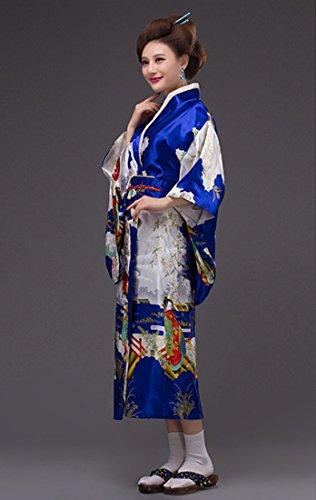 Tradizionale 8 scuro Unica YueLian Costume Kimono Colori Giapponese Blu Taglia ZnB4pq