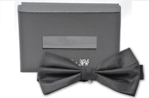 Solid Color Poly Satin Tuxedo Style Silk Finsihed BowTie Banded (PreTied) -Many Colors