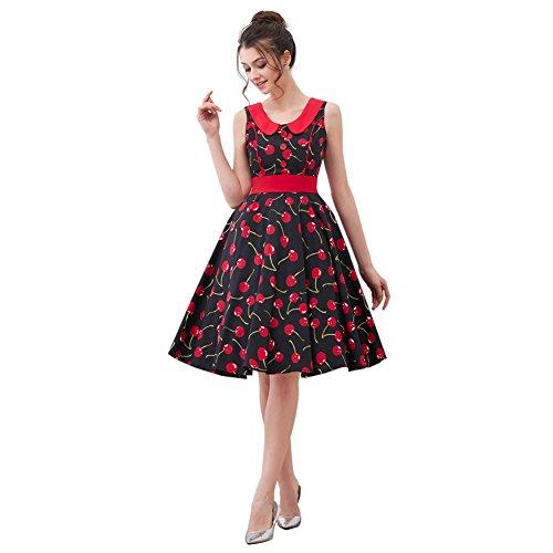 FiftiesChic Seam Line Sleeveless 100% Cotton Polka Dot Floral 50s Vintage Rockabilly Swing Dress (XXL (US10-12), Black Cherry) (Vintage Cherry)