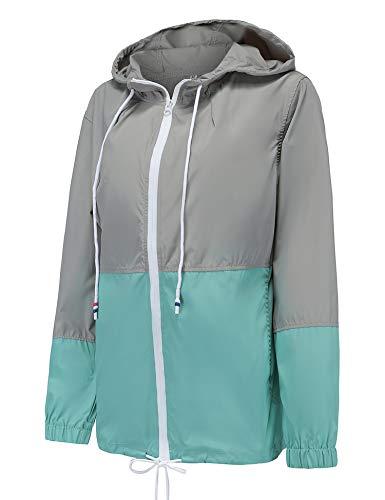 (LOMON Lightweight Waterproof Raincoat for Women Windbreaker Packable Outdoor Hooded Rain Jacket Lake Blue M)