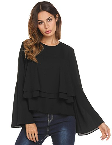 Concep Layered Ruffle Bell Sleeve Casual Blouse Chiffon Shirt Solid Color Tops For Women (Black, (Ruffle Detail Blouse)