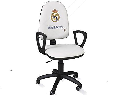 Real Madrid Silla de escritorio giratoria ergonómica con reposabrazos (Blanco)