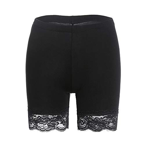 - Slip Shorts for Women Short Leggings Mid Thigh Legging Plus Size Lace Undershorts Black Medium