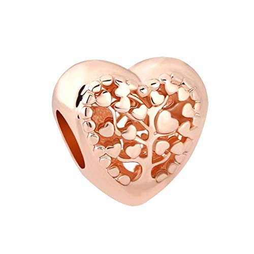 European Heart Bead With Pink Flower Apple Silver Alloy Beads Charms Fit Pandora Bracelets & Bangles Necklace W922