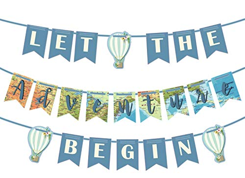 Let the Adventure Begin Banner Adventure Awaits Bon Voyage Map Banner for Travel Themed Party Decorations Supplies Pre Strung & Ready to -