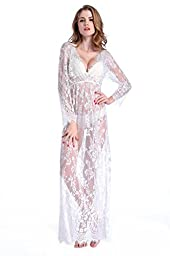 Deceny CB Women Sexy Lace Lingerie Bridesmaid Long Gown with Sleeves Deep V Dress(M-L)