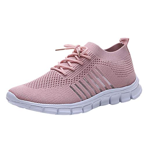 OrchidAmor 2019 Women's Flying Weaving Socks Shoes Sneakers Casual Shoes Student Mesh Breathable Running Shoes Pink