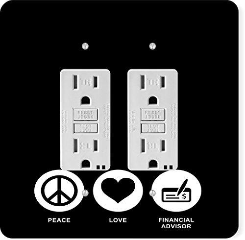 Rikki Knight 42320 Gfidouble Peace Love Financial Advisor Black Color Design Light Switch Plate