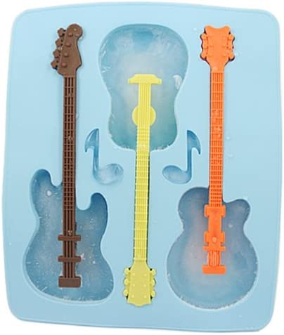 Guitar Ice Cube Candy Mold Electric Acoustic Musician Novelty Music Gift 4 Qty