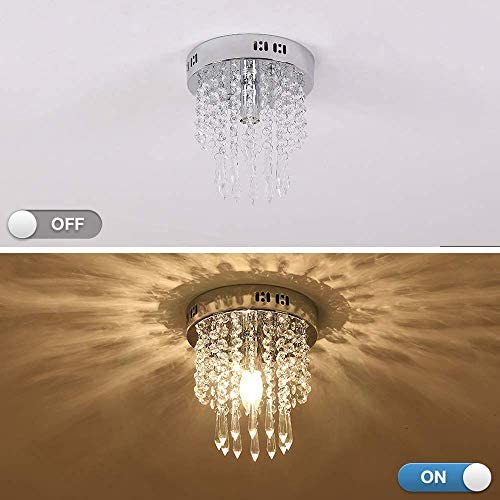 Mini Chandelier, Crystal Chandelier Lighting, Flush Mount Ceiling Light, H10.2 x W7.9 Modern Chandelier Lighting Fixture for Bedroom, Hallway, Bar, Kitchen, Bathroom
