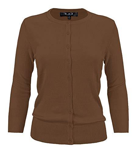 YEMAK Women's 3/4 Sleeve Crewneck Button Down Knit Cardigan Sweater CO079-Cocoa-S