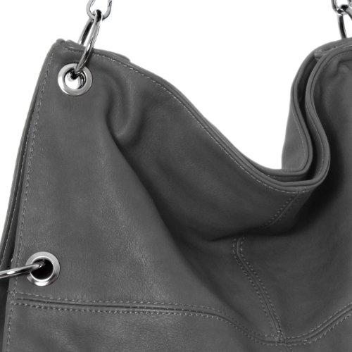 CASPAR TS561 Bolso de Bandolera para Mujer Bolso de Hombro en Varios Colores Gris Oscuro