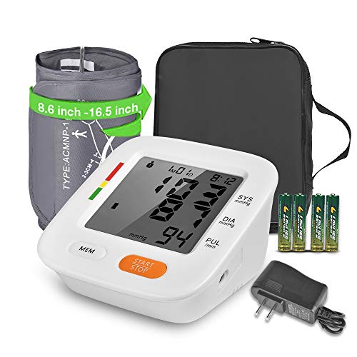 Blood Pressure Monitor, AlphagoMed Adjustable Blood Pressure Cuff Large Screen Irregular Heartbeat Detector 2 * 90 Memory Set Batteries and AC Adapter Device Bag,FDA Approved
