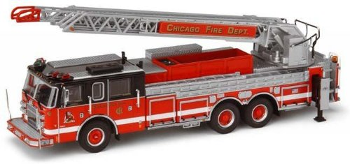 CODE THREE, CHICAGO PIERCE REAR MOUNT LADDER FDE 314, O'HARE INTERNATIONAL AIRPORT #63, 1:64 SCALE, LIMITED - O Stores Hare Chicago