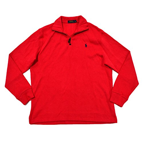 (Polo Ralph Lauren French Ribbed 1/4 Zip Mock Neck Sweater (M, Maui Red Blue Pony))